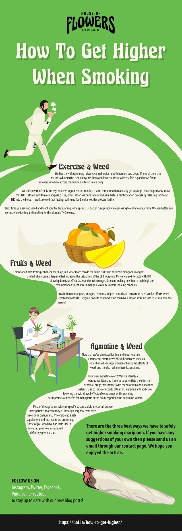 infographic describing how to get higher when smoking weed