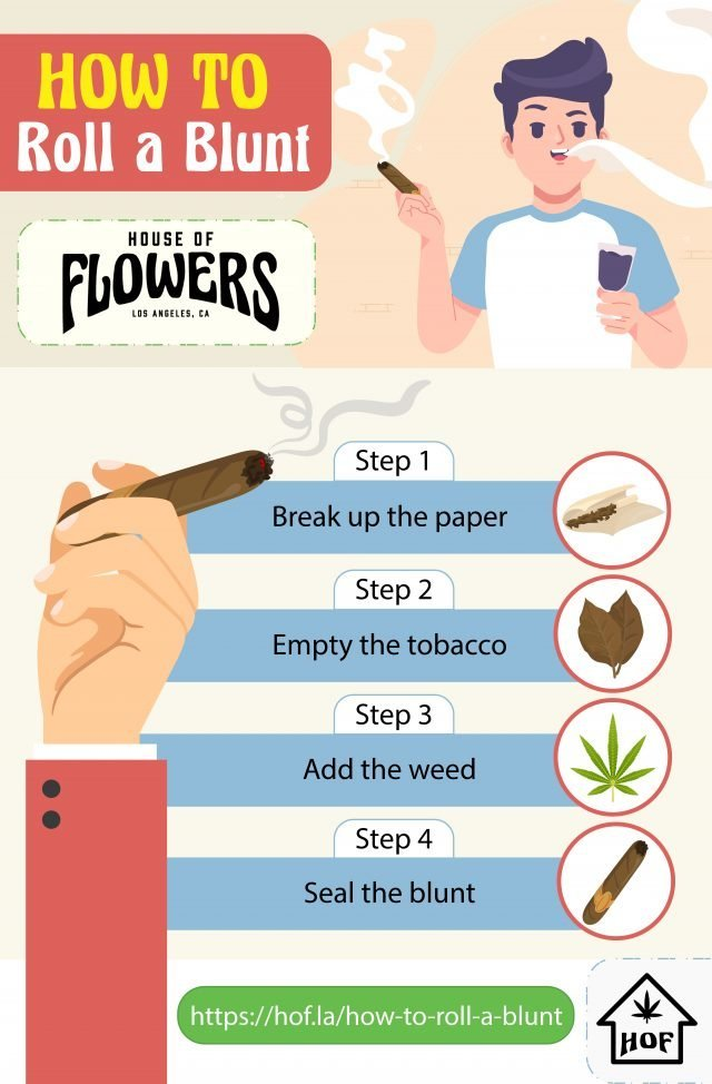 infographic explaining how to roll a blunt